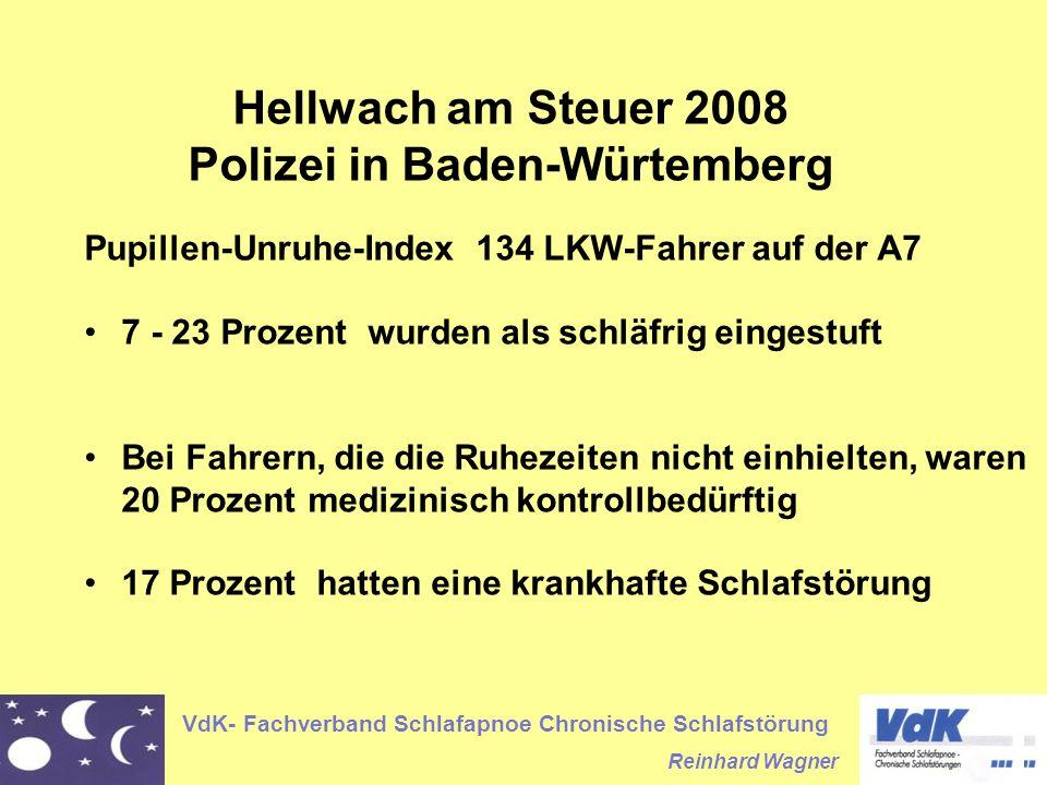 VdK- Fachverband Schlafapnoe Chronische Schlafstörung Reinhard Wagner Hellwach am Steuer 2008 Polizei in Baden-Würtemberg Pupillen-Unruhe-Index 134 LKW-Fahrer auf der A7 7 - 23 Prozent wurden als schläfrig eingestuft Bei Fahrern, die die Ruhezeiten nicht einhielten, waren 20 Prozent medizinisch kontrollbedürftig 17 Prozent hatten eine krankhafte Schlafstörung