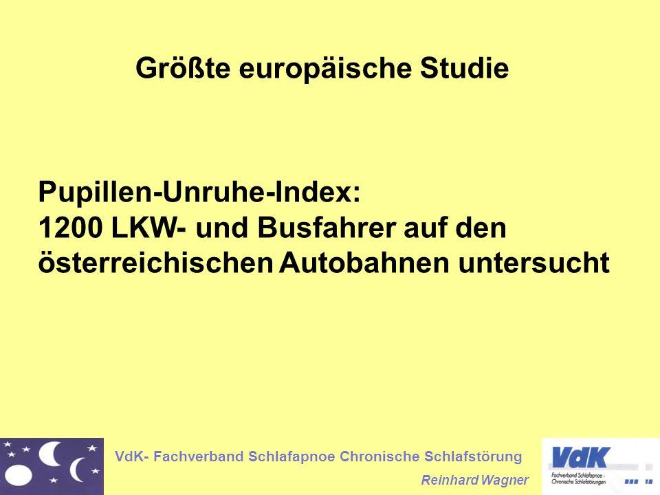 VdK- Fachverband Schlafapnoe Chronische Schlafstörung Reinhard Wagner Größte europäische Studie Pupillen-Unruhe-Index: 1200 LKW- und Busfahrer auf den österreichischen Autobahnen untersucht