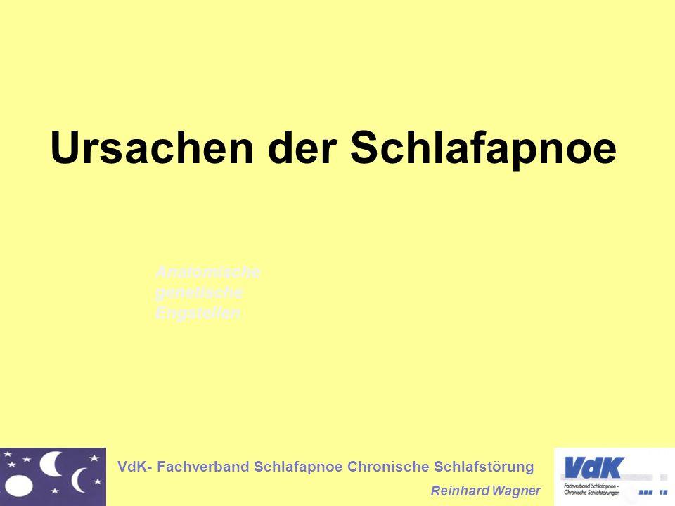 VdK- Fachverband Schlafapnoe Chronische Schlafstörung Reinhard Wagner Ursachen der Schlafapnoe Anatomische genetische Engstellen