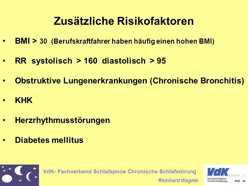 VdK- Fachverband Schlafapnoe Chronische Schlafstörung Reinhard Wagner Zusätzliche Risikofaktoren BMI > 30 (Berufskraftfahrer haben häufig einen hohen BMI) RR systolisch > 160 diastolisch > 95 Obstruktive Lungenerkrankungen (Chronische Bronchitis) KHK Herzrhythmusstörungen Diabetes mellitus