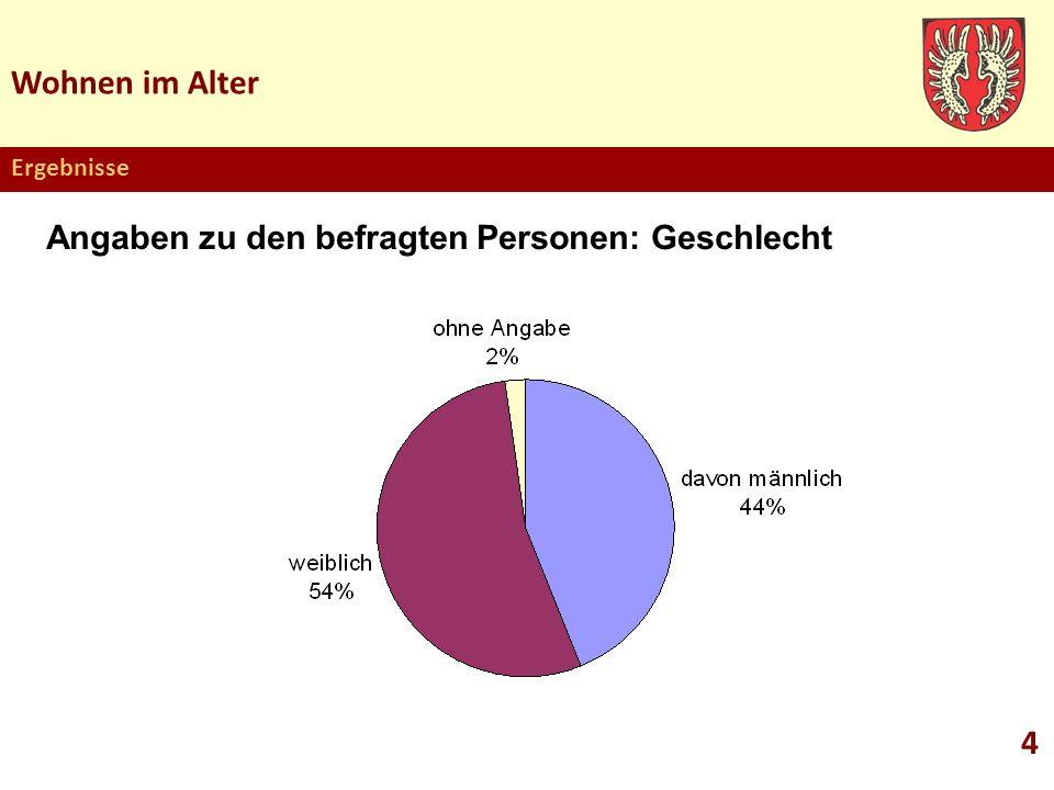 Wohnen im Alter 4 Ergebnisse Angaben zu den befragten Personen: Geschlecht