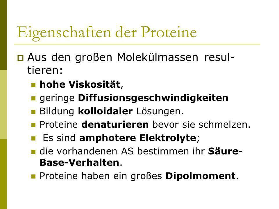 Eigenschaften der Proteine Aus den großen Molekülmassen resul- tieren: hohe Viskosität, geringe Diffusionsgeschwindigkeiten Bildung kolloidaler Lösung