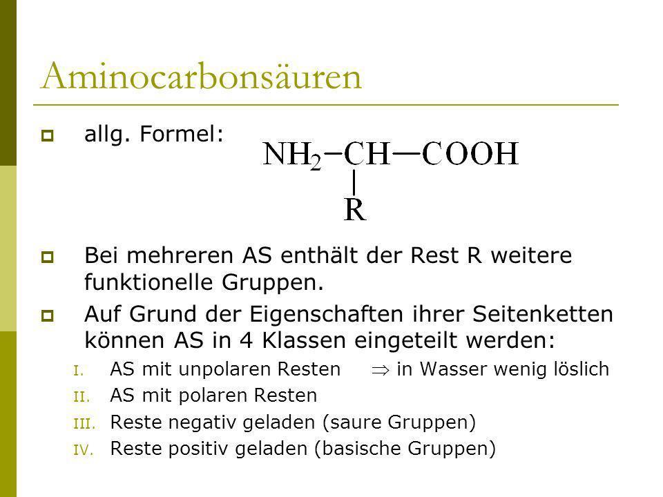 Aminocarbonsäuren allg. Formel: Bei mehreren AS enthält der Rest R weitere funktionelle Gruppen. Auf Grund der Eigenschaften ihrer Seitenketten können