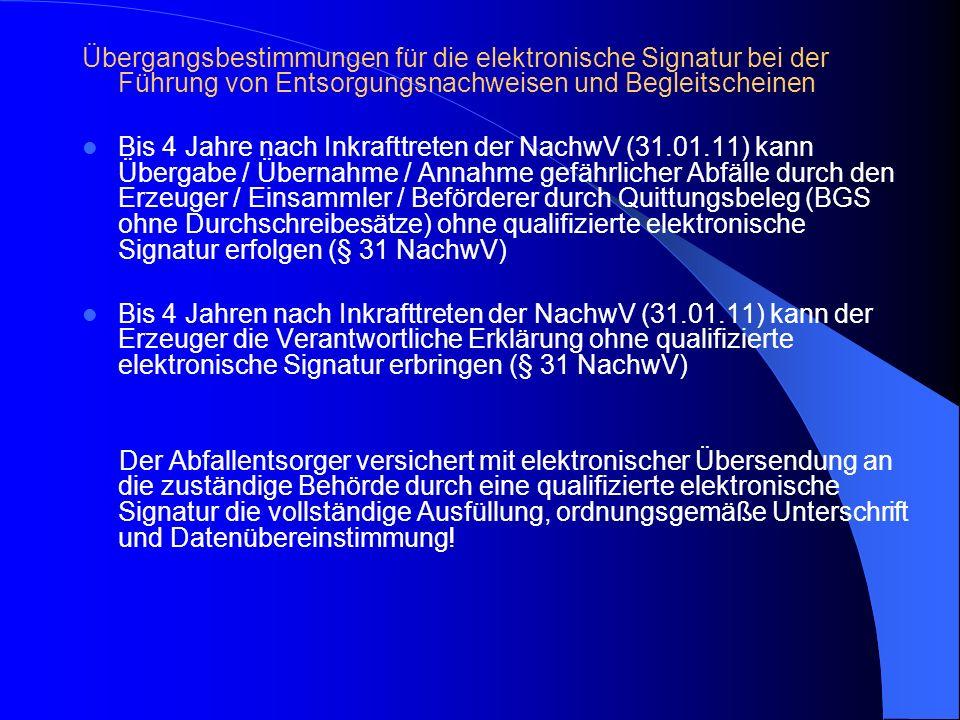 Übergangsbestimmungen für die elektronische Signatur bei der Führung von Entsorgungsnachweisen und Begleitscheinen Bis 4 Jahre nach Inkrafttreten der