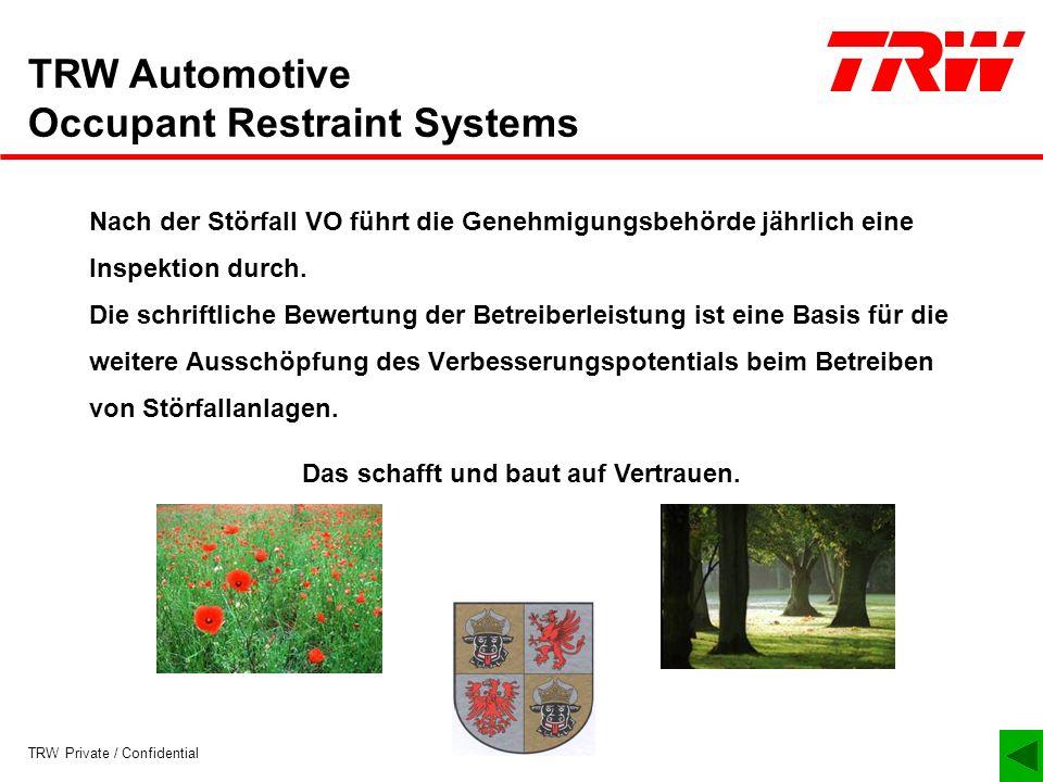 TRW Private / Confidential TRW Automotive Occupant Restraint Systems Nach der Störfall VO führt die Genehmigungsbehörde jährlich eine Inspektion durch