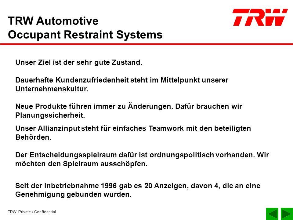 TRW Private / Confidential TRW Automotive Occupant Restraint Systems Unser Ziel ist der sehr gute Zustand. Dauerhafte Kundenzufriedenheit steht im Mit