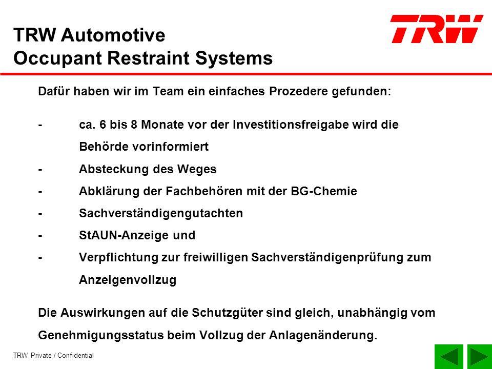 TRW Private / Confidential TRW Automotive Occupant Restraint Systems Dafür haben wir im Team ein einfaches Prozedere gefunden: -ca. 6 bis 8 Monate vor