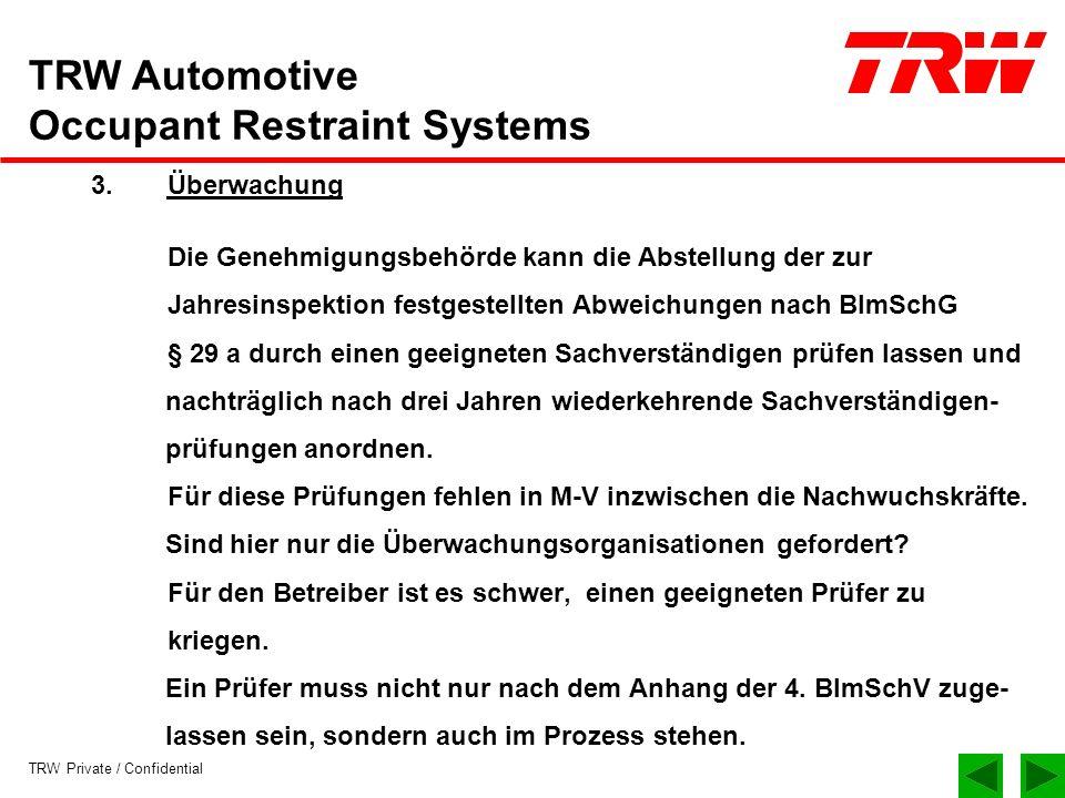TRW Private / Confidential TRW Automotive Occupant Restraint Systems 3.Überwachung Die Genehmigungsbehörde kann die Abstellung der zur Jahresinspektio