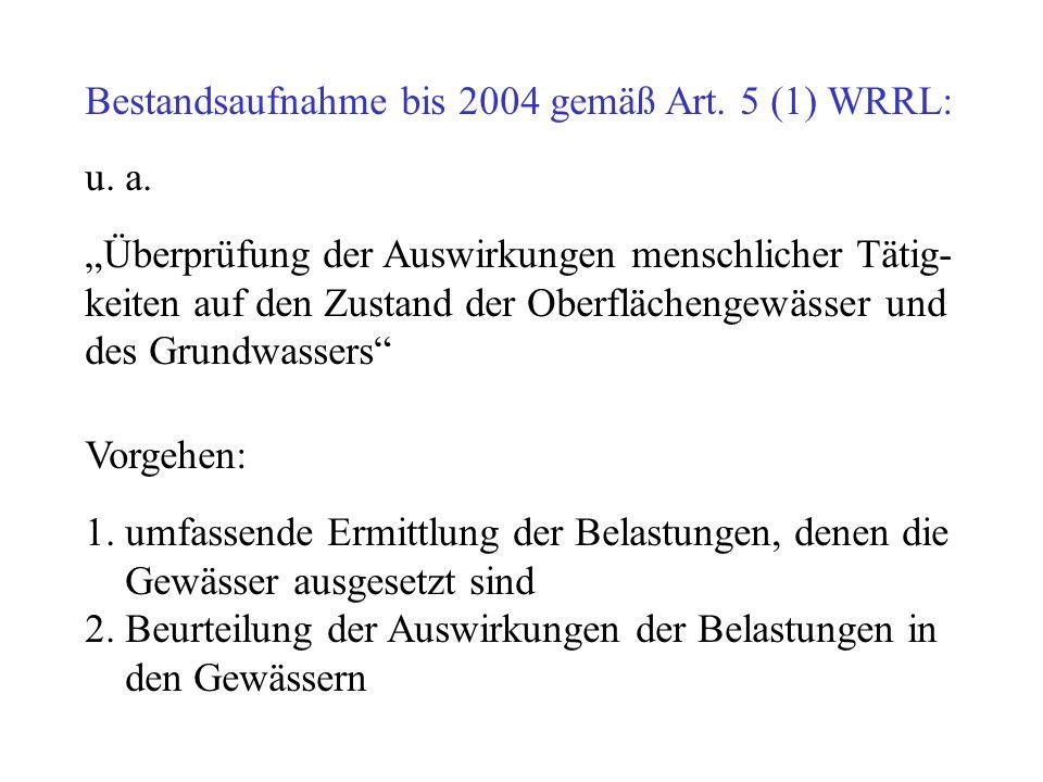 Bestandsaufnahme bis 2004 gemäß Art. 5 (1) WRRL: u. a. Überprüfung der Auswirkungen menschlicher Tätig- keiten auf den Zustand der Oberflächengewässer