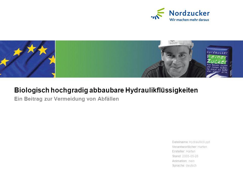 Biologisch hochgradig abbaubare Hydraulikflüssigkeiten Ein Beitrag zur Vermeidung von Abfällen Dateiname: Hydrauliköl.ppt Verantwortlicher: Harten Ers