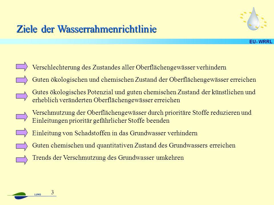 EU- WRRL Ziele der Wasserrahmenrichtlinie Verschlechterung des Zustandes aller Oberflächengewässer verhindern Guten ökologischen und chemischen Zustand der Oberflächengewässer erreichen Gutes ökologisches Potenzial und guten chemischen Zustand der künstlichen und erheblich veränderten Oberflächengewässer erreichen Verschmutzung der Oberflächengewässer durch prioritäre Stoffe reduzieren und Einleitungen prioritär gefährlicher Stoffe beenden Einleitung von Schadstoffen in das Grundwasser verhindern Guten chemischen und quantitativen Zustand des Grundwassers erreichen Trends der Verschmutzung des Grundwasser umkehren 3