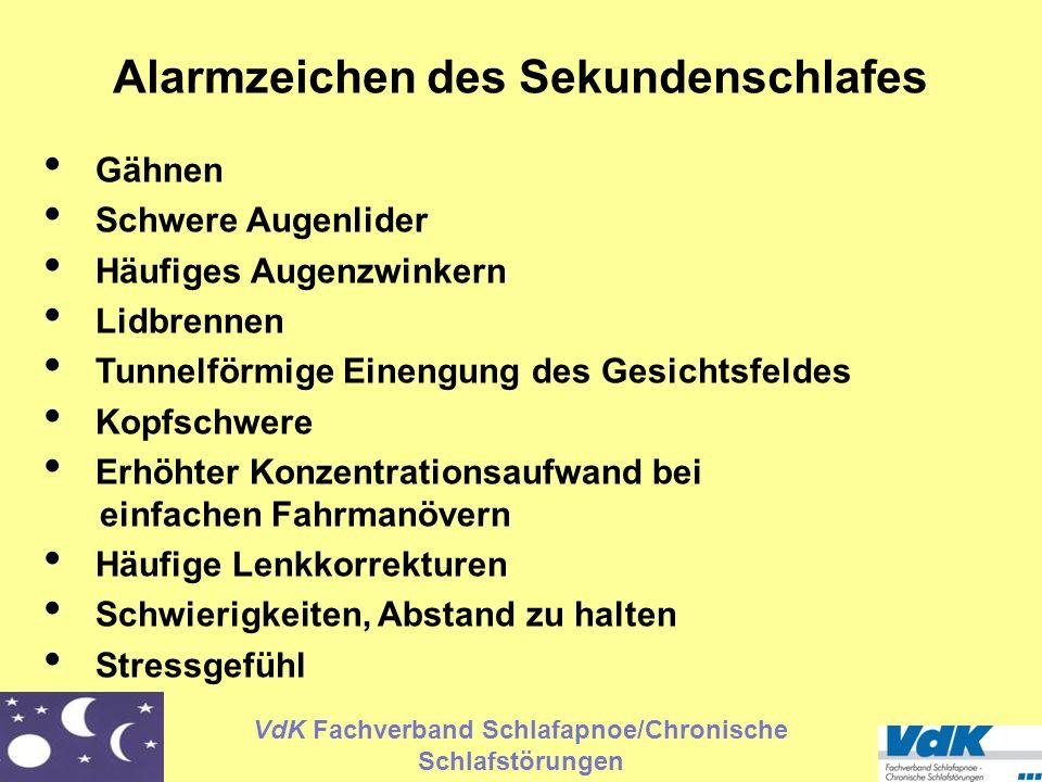 VdK Fachverband Schlafapnoe/Chronische Schlafstörungen Alarmzeichen des Sekundenschlafes Gähnen Schwere Augenlider Häufiges Augenzwinkern Lidbrennen T