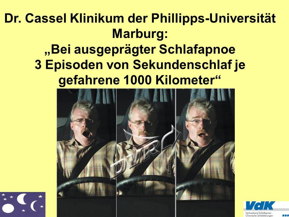 VdK Fachverband Schlafapnoe/Chronische Schlafstörungen Dr. Cassel Klinikum der Phillipps-Universität Marburg: Bei ausgeprägter Schlafapnoe 3 Episoden