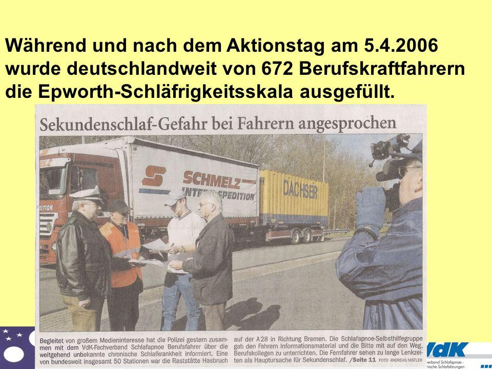 VdK Fachverband Schlafapnoe/Chronische Schlafstörungen Während und nach dem Aktionstag am 5.4.2006 wurde deutschlandweit von 672 Berufskraftfahrern di