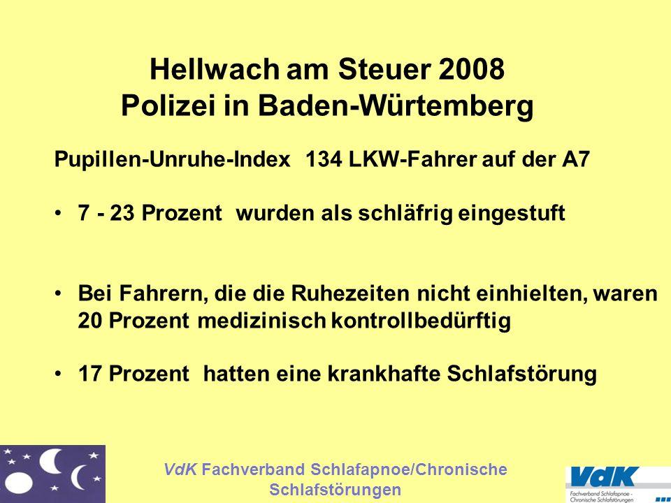 VdK Fachverband Schlafapnoe/Chronische Schlafstörungen Hellwach am Steuer 2008 Polizei in Baden-Würtemberg Pupillen-Unruhe-Index 134 LKW-Fahrer auf de