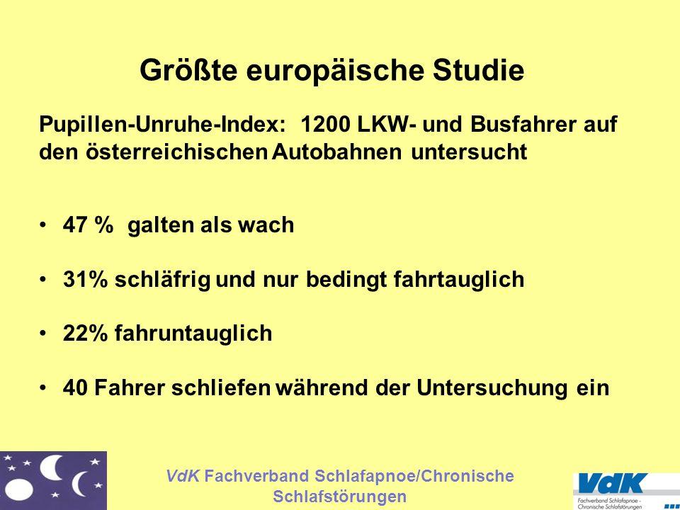 VdK Fachverband Schlafapnoe/Chronische Schlafstörungen Größte europäische Studie Pupillen-Unruhe-Index: 1200 LKW- und Busfahrer auf den österreichisch
