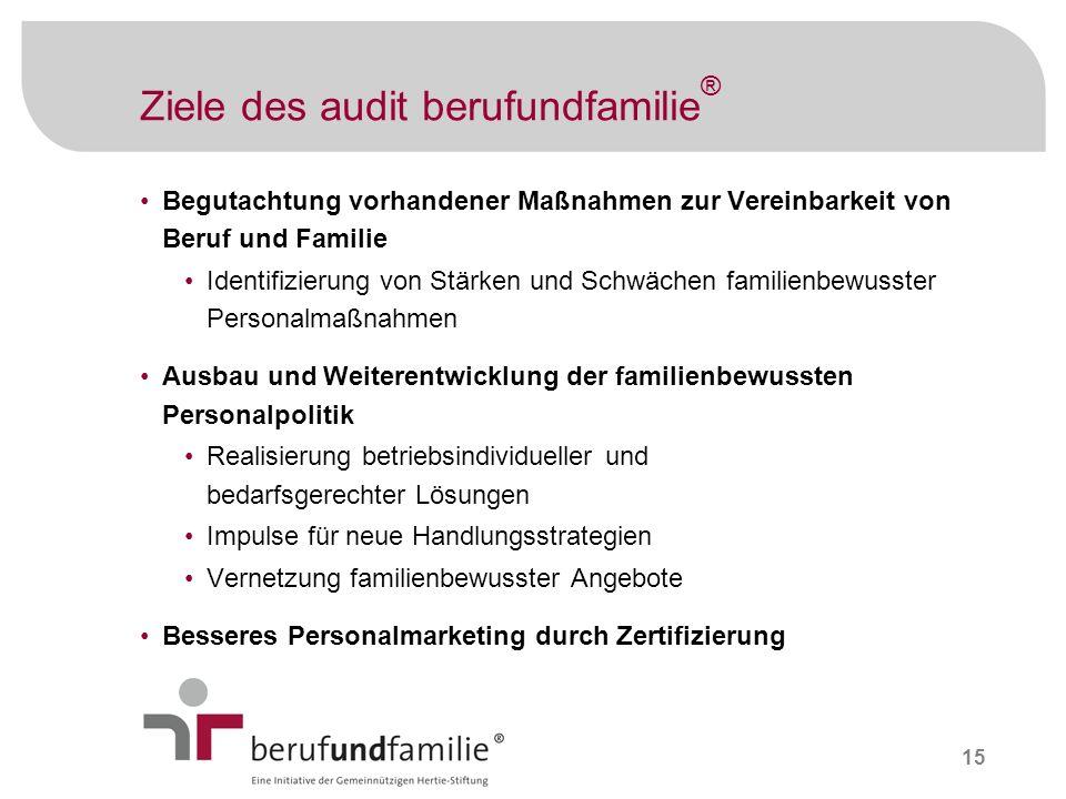 15 Ziele des audit berufundfamilie ® Begutachtung vorhandener Maßnahmen zur Vereinbarkeit von Beruf und Familie Identifizierung von Stärken und Schwäc