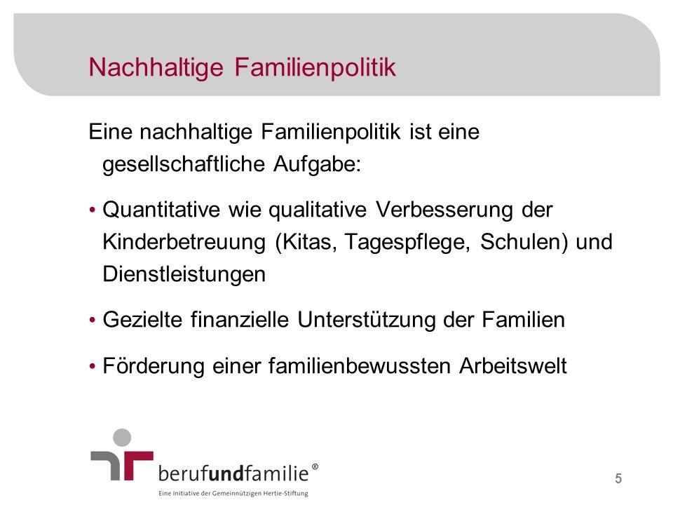 5 Nachhaltige Familienpolitik Eine nachhaltige Familienpolitik ist eine gesellschaftliche Aufgabe: Quantitative wie qualitative Verbesserung der Kinde