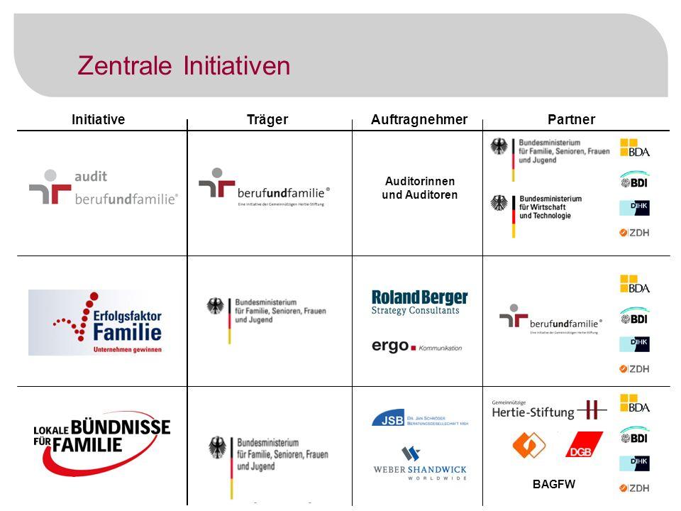 8 InitiativeTrägerAuftragnehmerPartner Verschiedene Partner vor Ort Zentrale Initiativen