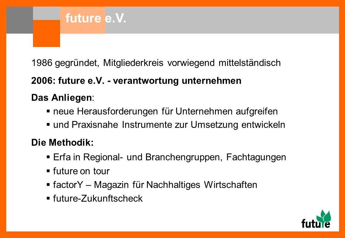 1986 gegründet, Mitgliederkreis vorwiegend mittelständisch 2006: future e.V.