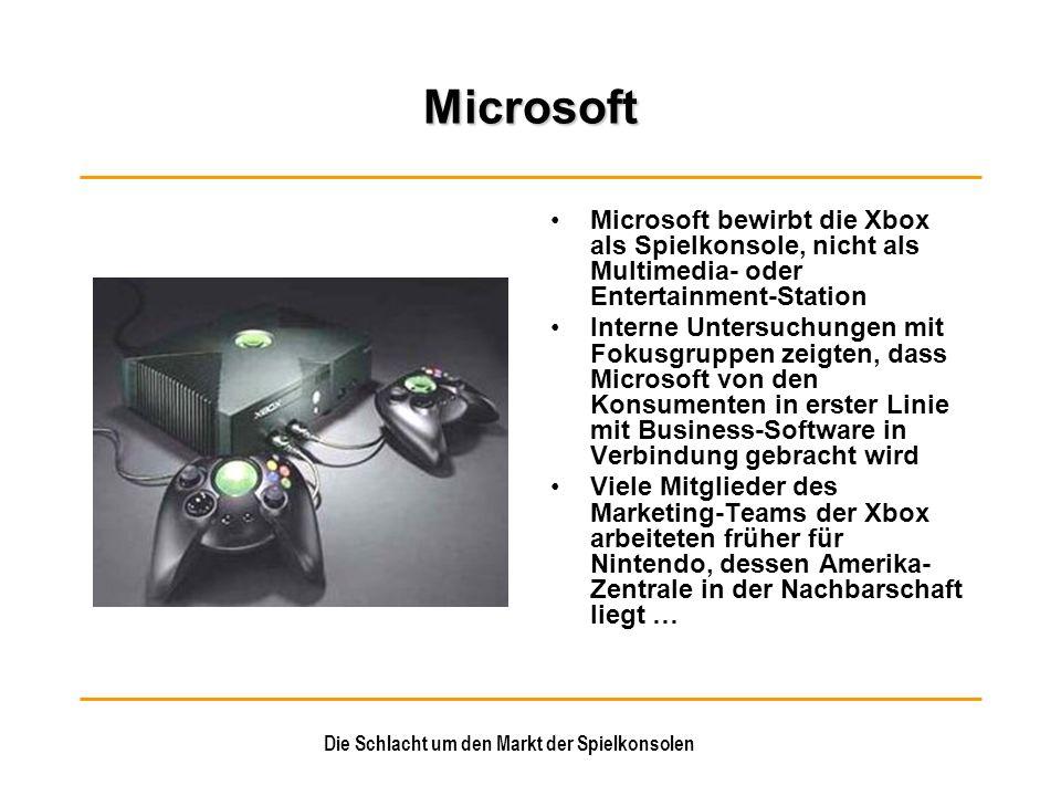 Die Schlacht um den Markt der Spielkonsolen Microsoft Microsoft bewirbt die Xbox als Spielkonsole, nicht als Multimedia- oder Entertainment-Station In