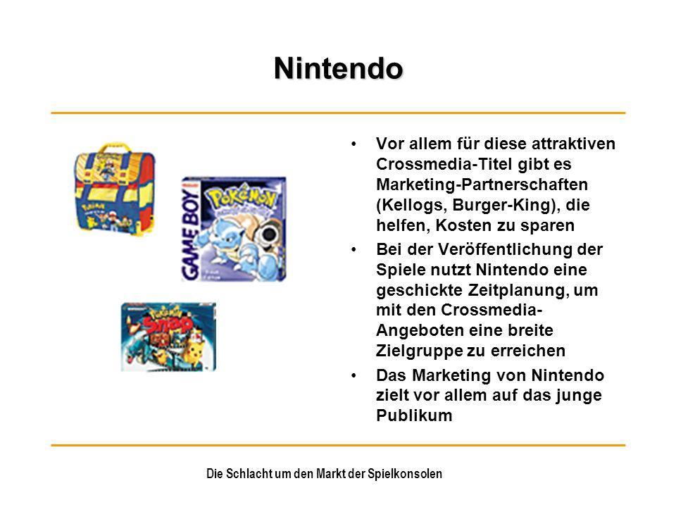 Die Schlacht um den Markt der Spielkonsolen Nintendo Vor allem für diese attraktiven Crossmedia-Titel gibt es Marketing-Partnerschaften (Kellogs, Burg