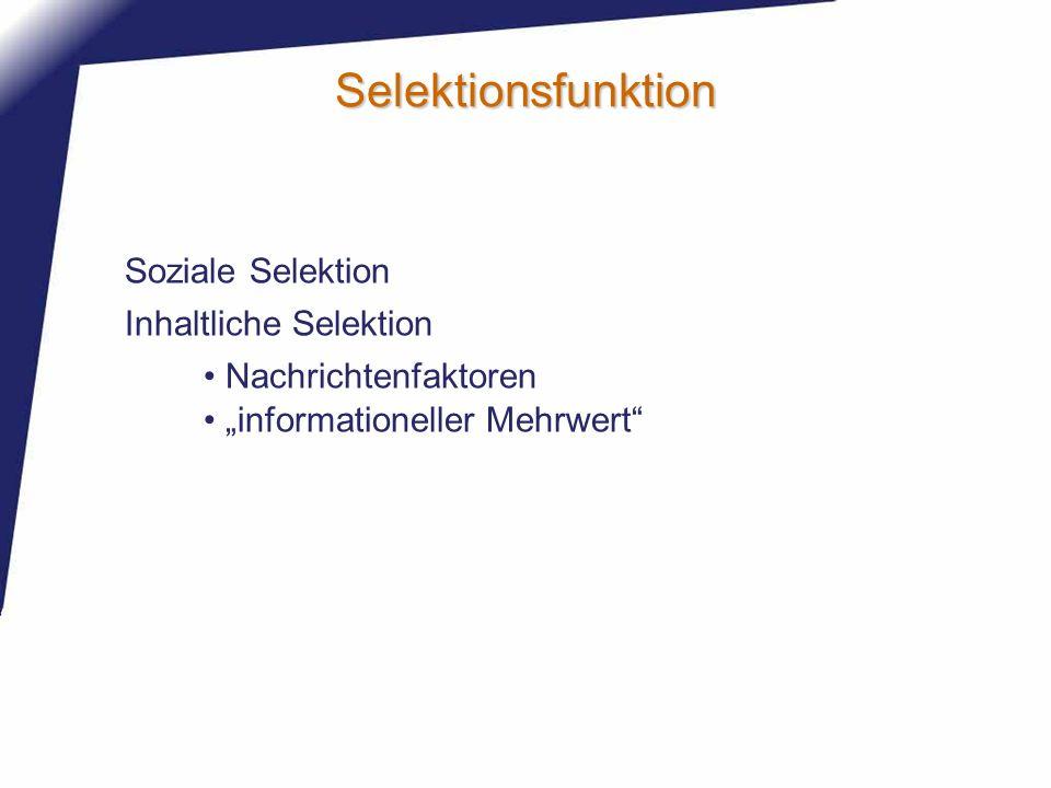 Selektionsfunktion Inhaltliche Selektion Soziale Selektion Nachrichtenfaktoren informationeller Mehrwert