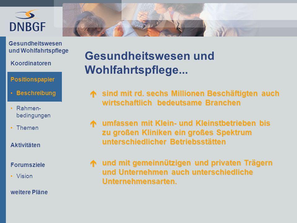 Gesundheitswesen und Wohlfahrtspflege Beschreibung Rahmen- bedingungen Themen Aktivitäten Forumsziele Die Unternehmen und Mitarbeiter/innen...