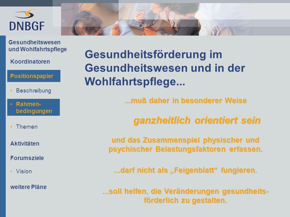 Gesundheitswesen und Wohlfahrtspflege Beschreibung Rahmen- bedingungen Themen Aktivitäten Forumsziele Gesundheitsförderung im Gesundheitswesen und in