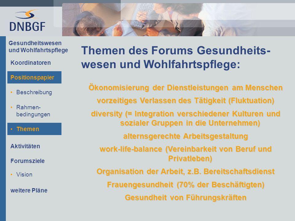 Gesundheitswesen und Wohlfahrtspflege Themen des Forums Gesundheits- wesen und Wohlfahrtspflege: Ökonomisierung der Dienstleistungen am Menschen vorze