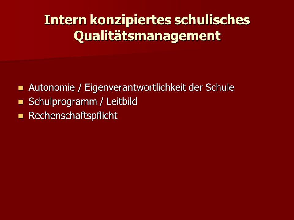 Intern konzipiertes schulisches Qualitätsmanagement Autonomie / Eigenverantwortlichkeit der Schule Autonomie / Eigenverantwortlichkeit der Schule Schu