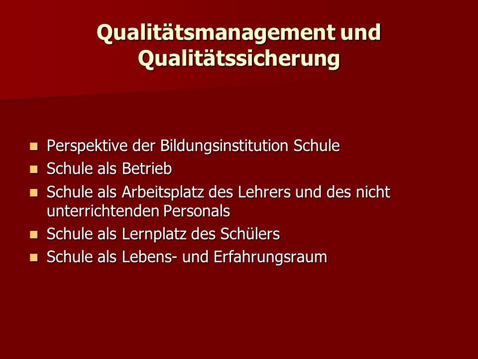 Qualitätsmanagement und Qualitätssicherung Perspektive der Bildungsinstitution Schule Perspektive der Bildungsinstitution Schule Schule als Betrieb Sc