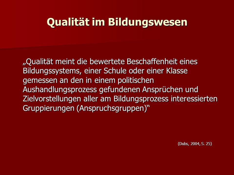 Qualität im Bildungswesen Qualität meint die bewertete Beschaffenheit eines Bildungssystems, einer Schule oder einer Klasse gemessen an den in einem p