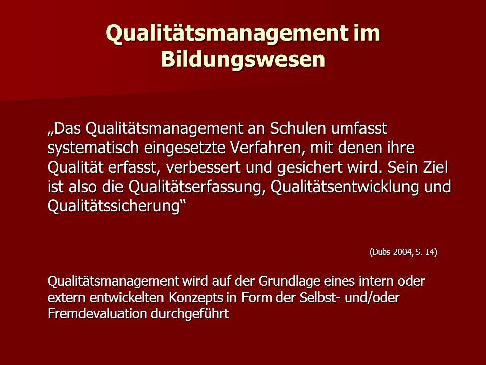 Qualitätsmanagement im Bildungswesen Das Qualitätsmanagement an Schulen umfasst systematisch eingesetzte Verfahren, mit denen ihre Qualität erfasst, v