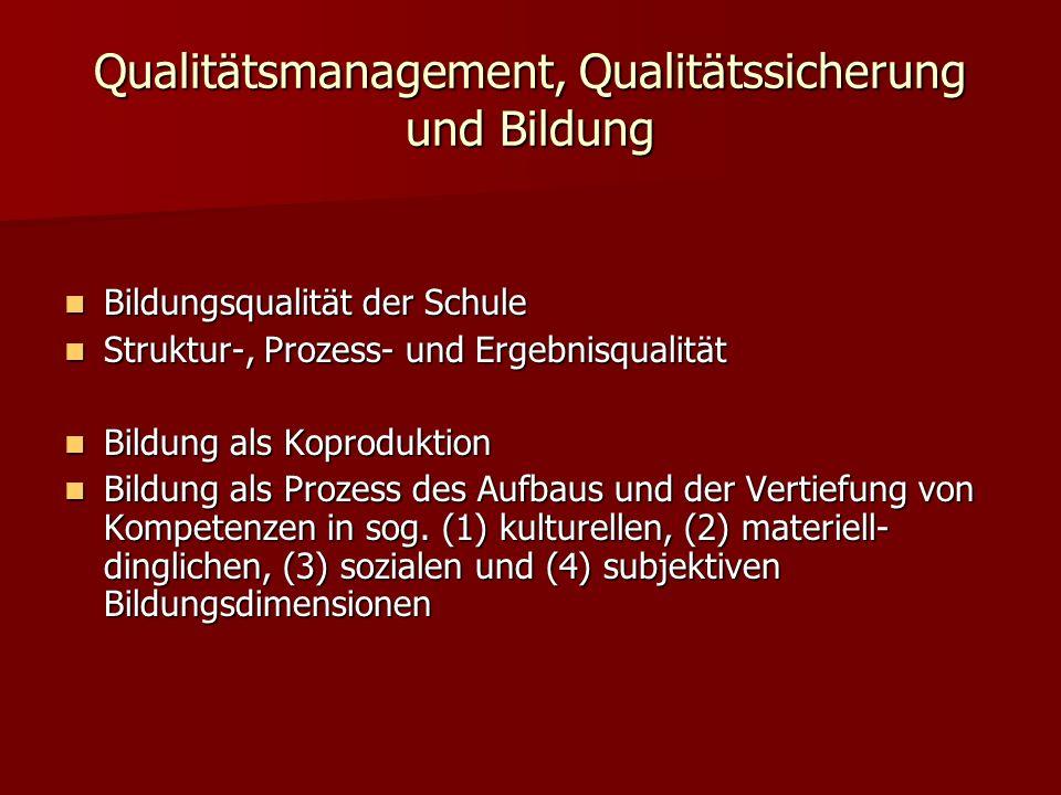 Qualitätsmanagement, Qualitätssicherung und Bildung Bildungsqualität der Schule Bildungsqualität der Schule Struktur-, Prozess- und Ergebnisqualität S