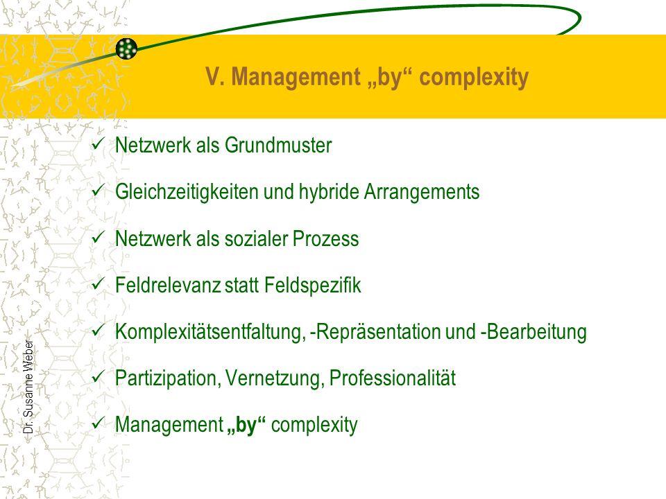 Dr. Susanne Weber V. Management by complexity Netzwerk als Grundmuster Gleichzeitigkeiten und hybride Arrangements Netzwerk als sozialer Prozess Feldr