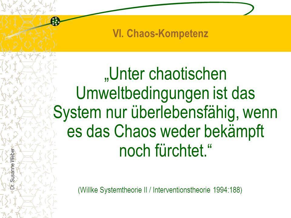 Dr. Susanne Weber VI. Chaos-Kompetenz Unter chaotischen Umweltbedingungen ist das System nur überlebensfähig, wenn es das Chaos weder bekämpft noch fü