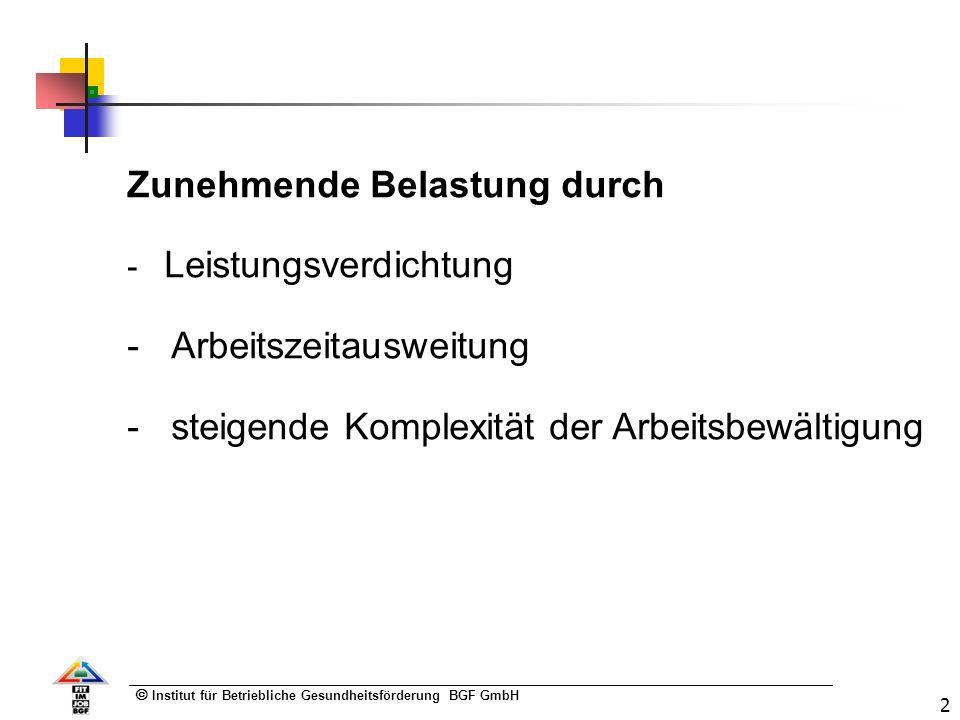Institut für Betriebliche Gesundheitsförderung BGF GmbH 2 Zunehmende Belastung durch - Leistungsverdichtung - Arbeitszeitausweitung - steigende Komplexität der Arbeitsbewältigung