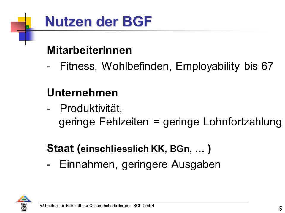 Institut für Betriebliche Gesundheitsförderung BGF GmbH 5 Nutzen der BGF MitarbeiterInnen - Fitness, Wohlbefinden, Employability bis 67 Unternehmen - Produktivität, geringe Fehlzeiten = geringe Lohnfortzahlung Staat ( einschliesslich KK, BGn, … ) - Einnahmen, geringere Ausgaben