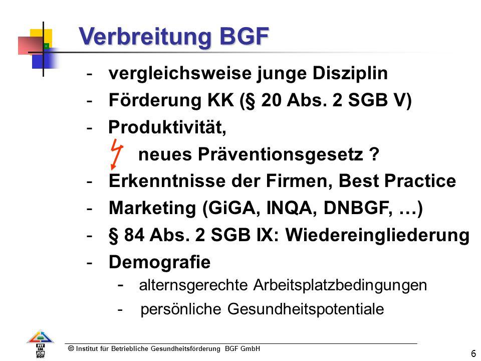 Institut für Betriebliche Gesundheitsförderung BGF GmbH 6 Verbreitung BGF - vergleichsweise junge Disziplin - Förderung KK (§ 20 Abs. 2 SGB V) - Produ