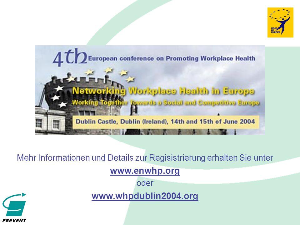 Mehr Informationen und Details zur Regisistrierung erhalten Sie unter www.enwhp.org oder www.whpdublin2004.org