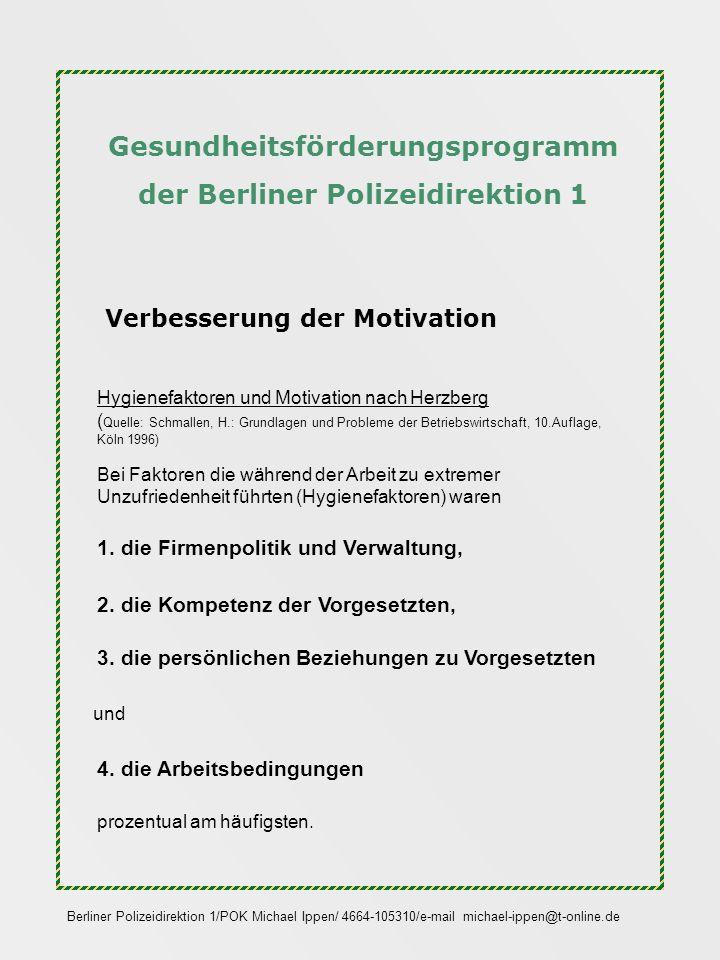 Gesundheitsförderungsprogramm der Berliner Polizeidirektion 1 Verbesserung der Motivation Hygienefaktoren und Motivation nach Herzberg ( Quelle: Schma