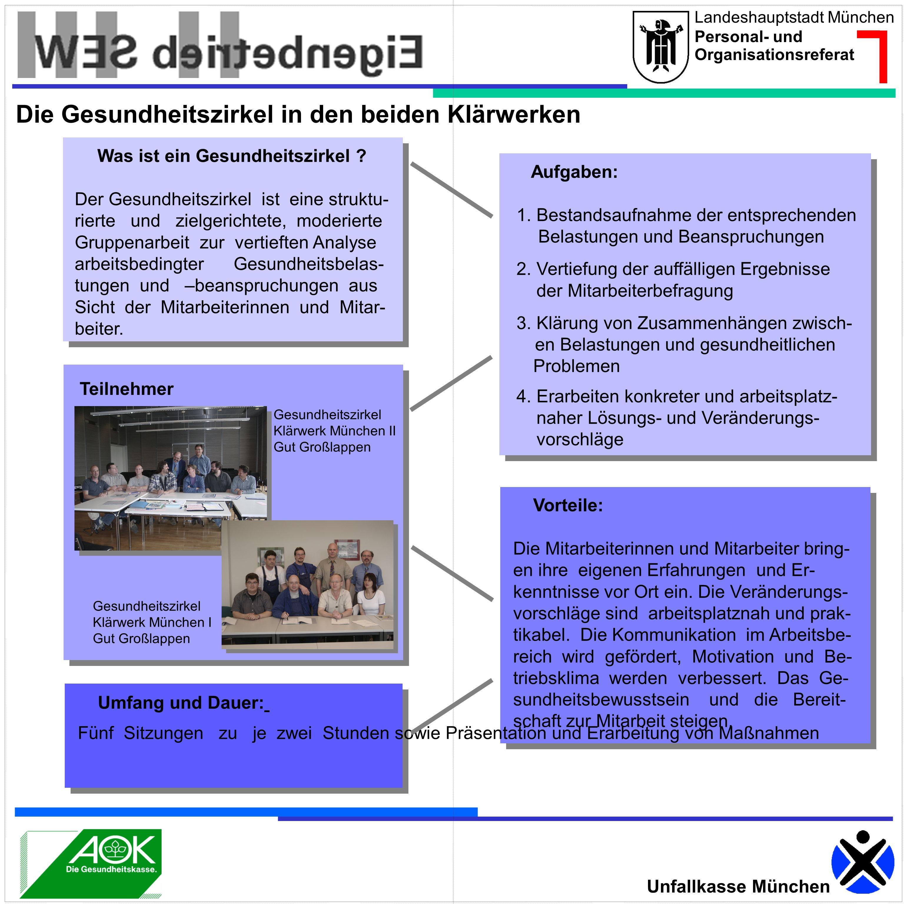 Landeshauptstadt München Personal- und Organisationsreferat Unfallkasse München Was ist ein Gesundheitszirkel ? Der Gesundheitszirkel ist eine struktu