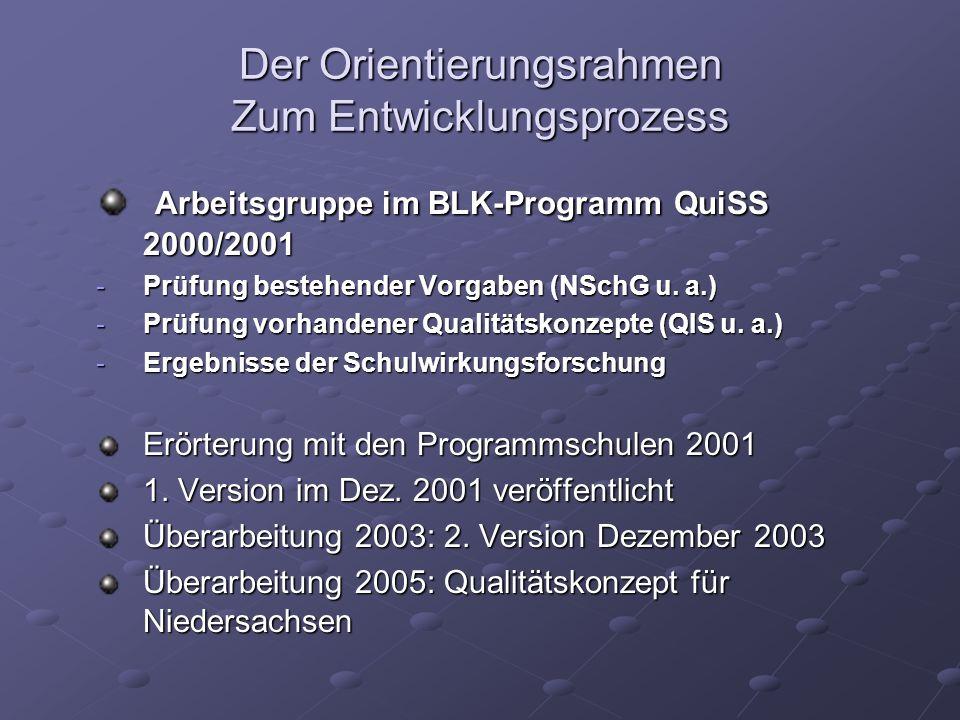 Der Orientierungsrahmen Zum Entwicklungsprozess Arbeitsgruppe im BLK-Programm QuiSS 2000/2001 Arbeitsgruppe im BLK-Programm QuiSS 2000/2001 -Prüfung b