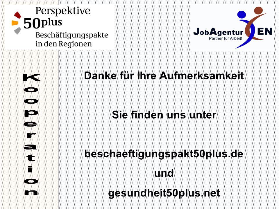 Danke für Ihre Aufmerksamkeit Sie finden uns unter beschaeftigungspakt50plus.de und gesundheit50plus.net