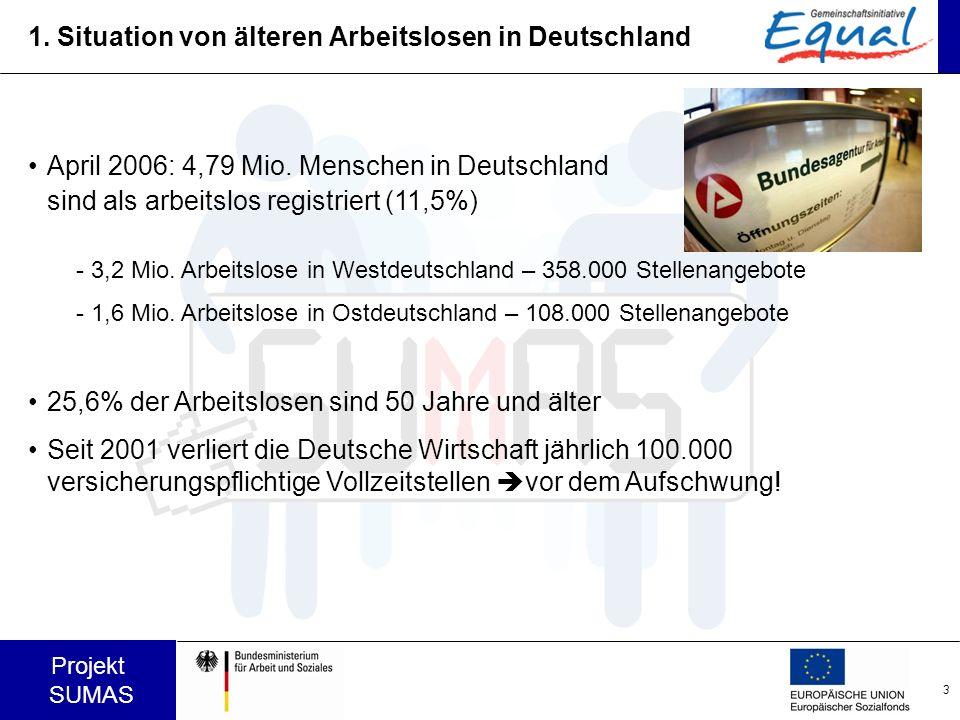 3 Projekt SUMAS 1. Situation von älteren Arbeitslosen in Deutschland April 2006: 4,79 Mio. Menschen in Deutschland sind als arbeitslos registriert (11