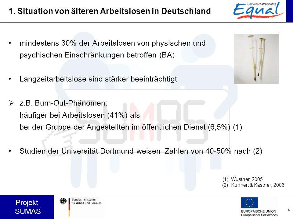 4 Projekt SUMAS 1. Situation von älteren Arbeitslosen in Deutschland mindestens 30% der Arbeitslosen von physischen und psychischen Einschränkungen be