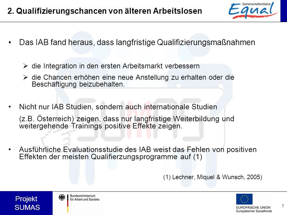 7 Projekt SUMAS 2. Qualifizierungschancen von älteren Arbeitslosen Das IAB fand heraus, dass langfristige Qualifizierungsmaßnahmen die Integration in