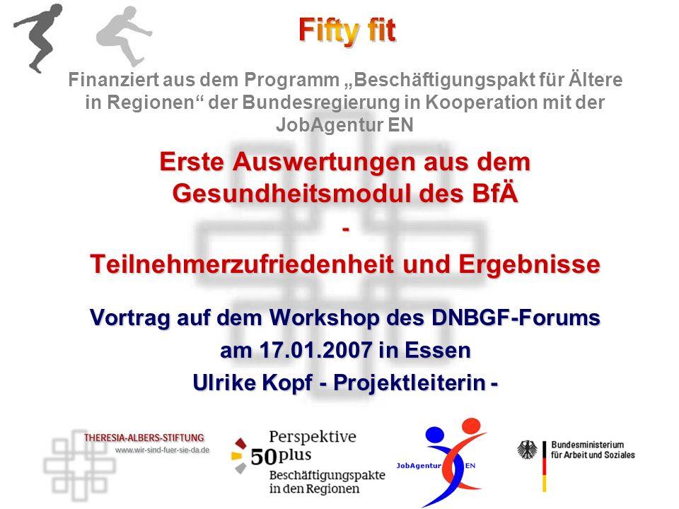1.Das Gesundheitsmodul des BfÄ Konzept Einbettung in den BfÄ 2.Teilnehmerzufriedenheit Wie kann sie gemessen werden.