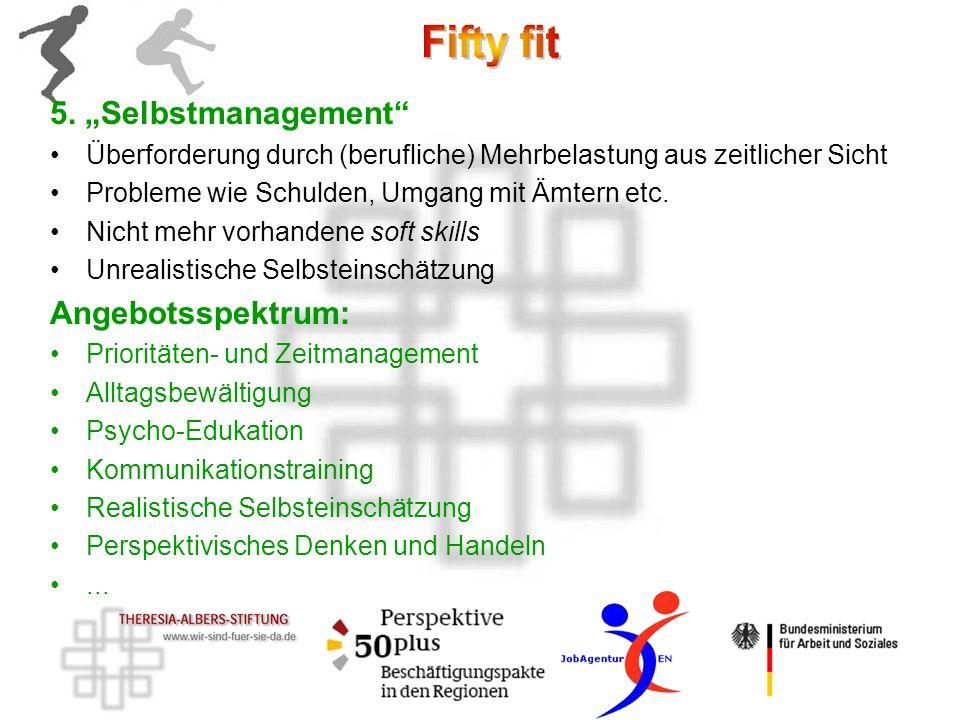5. Selbstmanagement Überforderung durch (berufliche) Mehrbelastung aus zeitlicher Sicht Probleme wie Schulden, Umgang mit Ämtern etc. Nicht mehr vorha